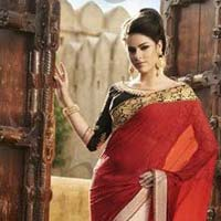 Latest Stylish Georgette Designer Saree with Red Color - 9199