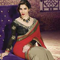 Georgette Designer Saree with Red Color