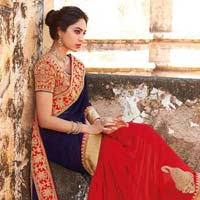 Georgette Designer Saree with Red and Blue Color