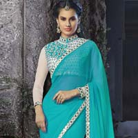 Georgette Designer Saree with Sea Green Color