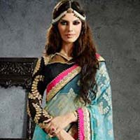 Designer Saree with Sky Blue Color