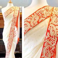 Latest Stylish Georgette Designer Saree with White Color-9411