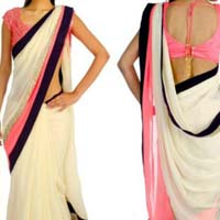 Georgette designer saree with White color