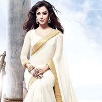 Latest Stylish Georgette Designer Saree with White Color - 9441