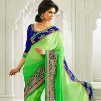 Latest Stylish Jacquard Designer Saree with Green Color - 9155