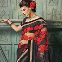 Net Designer Saree with Black Color