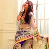 net designer saree with blue color