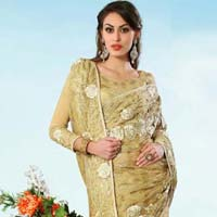 Latest Stylish Net Designer Saree with Cream Color - 9282