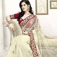 Net Designer Saree with Cream Color