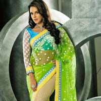 Latest Stylish Net Designer Saree with Green Color - 9152