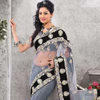 Latest Stylish Net Designer Saree with Grey Color - 9286
