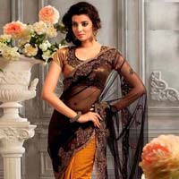 Net Designer Saree with Orange and Black Color