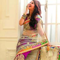 net designer saree with Purple color