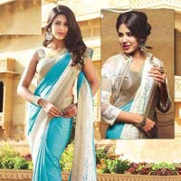 Satin Designer Saree with Beige Color
