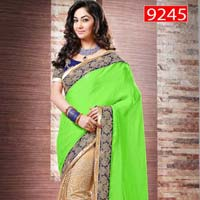 Latest Stylish Satin Designer Saree with Green Color - 9245b