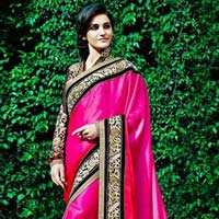 Satin Designer Saree with Pink Color