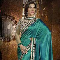 Latest Stylish Satin Designer Saree with Sea Green Color - 9478
