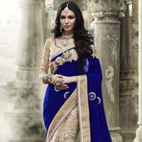 Velvet Designer Saree with Beige and Blue Color