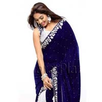 Velvet Designer Saree with Blue Color