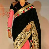 Velvet designer saree with Pink color
