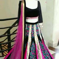 Lehenga Choli with Blackcolor Lahenga and Georgette Fabric - 9335