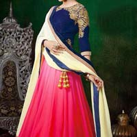 Lehenga Choli with Multicolor Lahenga and Georgette Fabric - 9338