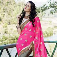 Stylish Georgette Designer Saree with Back and Pink  Color - 9219
