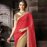 Designer Saree with Beige and Red Color