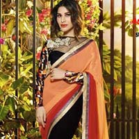 Stylish Georgette Designer Saree with Black and Orange Color - 9427