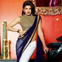 Stylish Georgette Designer Saree with Blue and White Color - 9221d