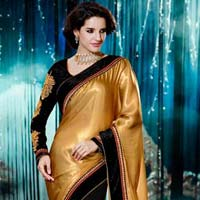 Stylish Georgette Designer Saree with Gold and Black Color - 9277