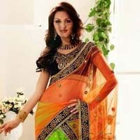 Stylish Georgette Designer Saree with Orange and Green Color - 9175