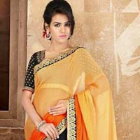 Stylish Georgette Designer Saree with Orange and Black Color - 9270