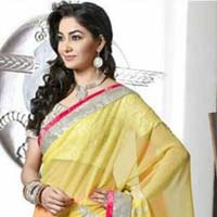 Stylish Georgette Designer Saree with Pink and Yellow Color - 9293