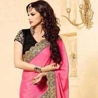 designer Saree with Pink and Green Color