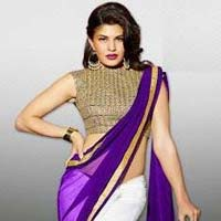 Stylish Georgette Designer Saree with Purple and White Color - 9221b