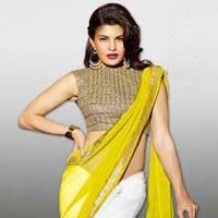 Stylish Georgette Designer Saree with Yellow and White Color - 9221c