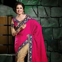 Stylish Jacquard Designer Saree with Beige and Pink Color - 9276