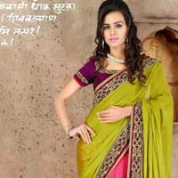 Stylish Jacquard Designer Saree with Pink and Green Color - 9272