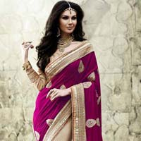 Stylish velvet designer saree