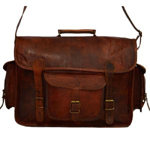 "Handmade Vintage Leather Camera Bag or Briefcase. 11"" x 15"" x 5"""