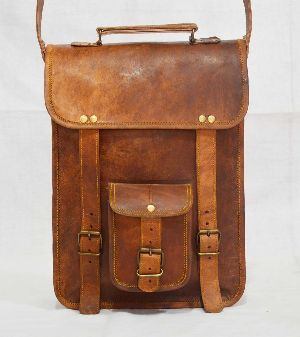 "Handmade Vintage Leather Laptop Bag, Messenger Bag. 11"" x 13"" x 4"""