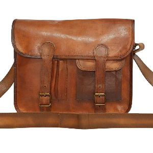 "Handmade Vintage Leather Laptop Bag, Messenger Bag 10"" x 13"" x 3.5"""
