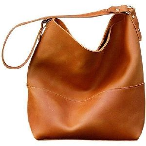 Ladies Leather Plain Handbags