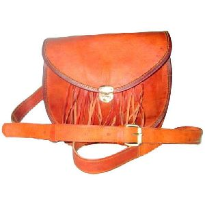 Ladies Leather Plain Sling Bags