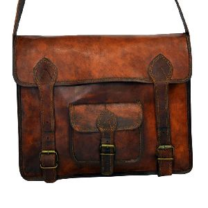 "Vintage Leather Laptop Bag or Briefcase for Men 11"" x 15"" x 4"""