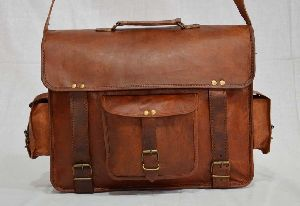 "Vintage Leather Laptop Briefcase for Men & Women. 16"" x 12"" x 5"""