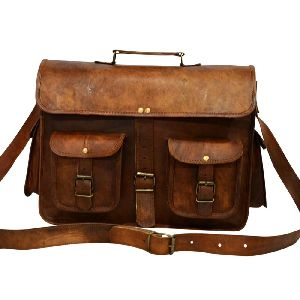 "Vintage Leather Laptop Briefcase for Men & Women. 11"" x 15"" x 5"""
