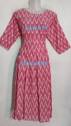 Handmade Ikkat Cotton Box Cut Kurti
