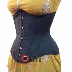 Black Cotton Underbust Steel Boned Corset